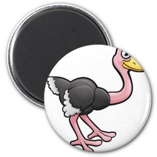Ostrich Safari Animals Cartoon Character 2 Inch Round Magnet