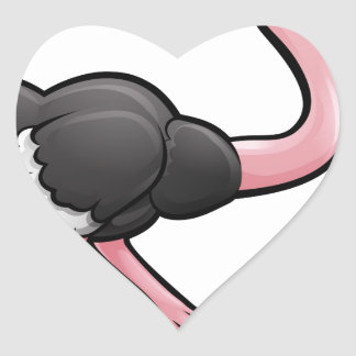 Ostrich Safari Animals Cartoon Character Heart Sticker