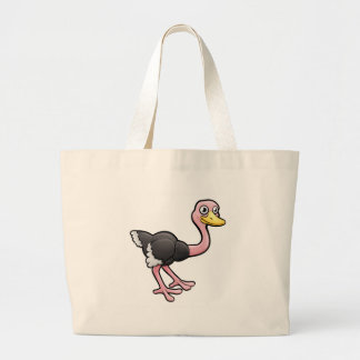 Ostrich Safari Animals Cartoon Character Large Tote Bag