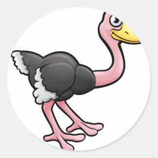 Ostrich Safari Animals Cartoon Character Round Sticker