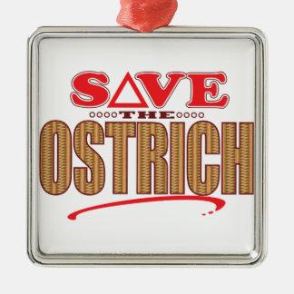 Ostrich Save Silver-Colored Square Ornament