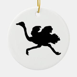 Ostrich Silhouette Ceramic Ornament