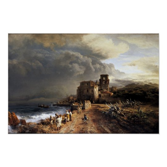 Oswald Achenbach Shaded Seaside Landscape Poster
