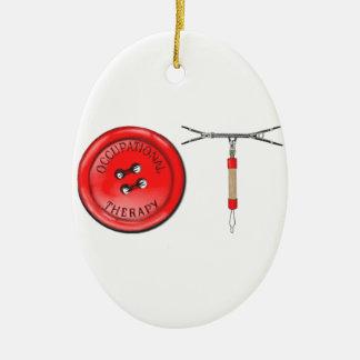 OT Button and Zipper Ceramic Ornament