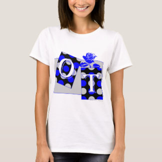 ot letter blocks blue and gray T-Shirt