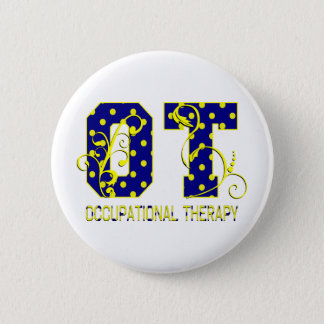 ot letters blue and yellow 2 inch round button