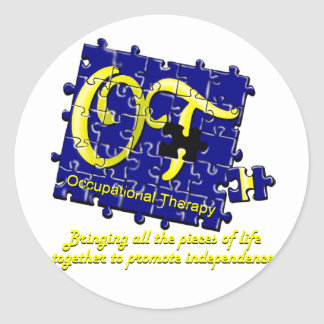 ot puzzle blue and gold classic round sticker