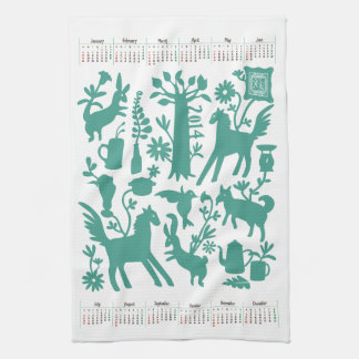 Otomi Kitchen towel with 2014 Japanese Calendar 2