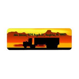 OTR Trucking Sundown Semi Return Address Labels