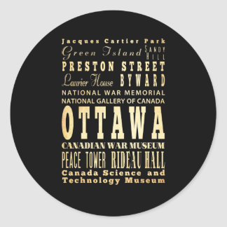 Ottawa City of Canada Typography Art Round Sticker