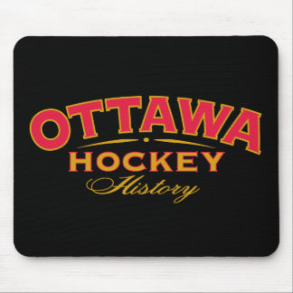 Ottawa Hockey History Black Mouse Pad