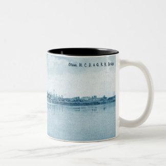 Ottawa Illinois C.B. & Q R.R. Bridge Circa 1900 Two-Tone Coffee Mug