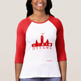 Ottawa Red and White 3/4 Sleeve Shirt