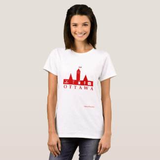 Ottawa Red on White Basic T-Shirt