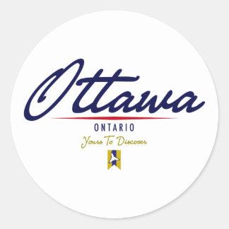 Ottawa Script Classic Round Sticker