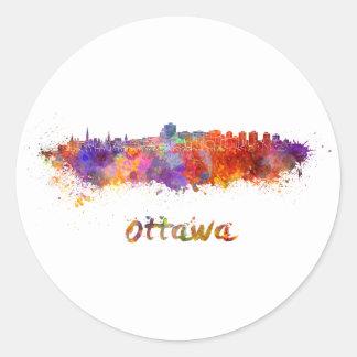 Ottawa skyline in watercolor classic round sticker