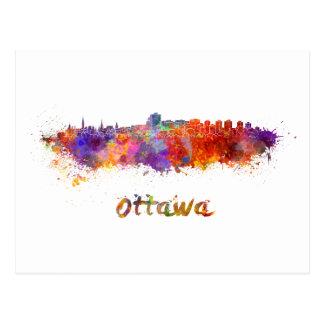 Ottawa skyline in watercolor postcard