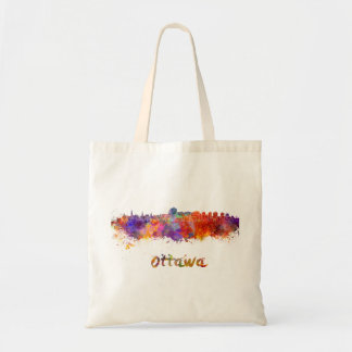 Ottawa skyline in watercolor tote bag