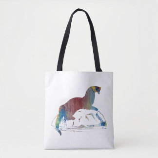Otter art tote bag