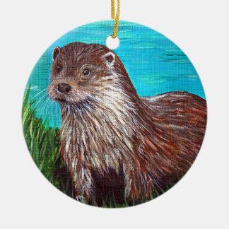 Otter by a River Ceramic Ornament
