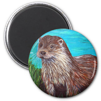 Otter by a River Magnet