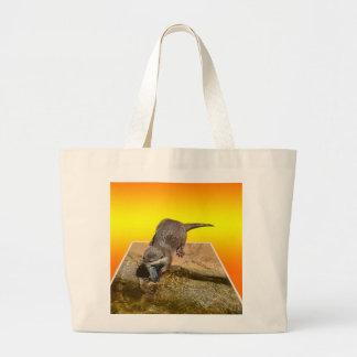 Otter Eating Tasty Fish By His Pond, Large Tote Bag
