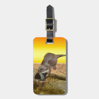 Otter Eating Tasty Fish By His Pond, Luggage Tag