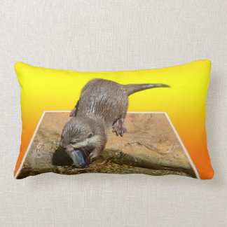 Otter Eating Tasty Fish By His Pond, Lumbar Pillow
