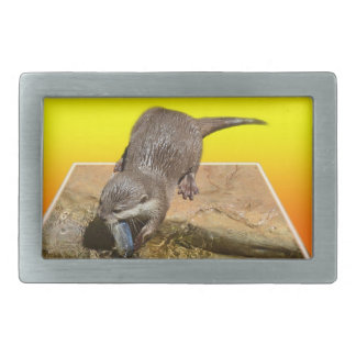Otter Eating Tasty Fish By His Pond, Rectangular Belt Buckle