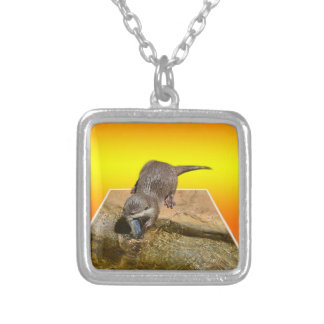 Otter Eating Tasty Fish By His Pond, Silver Plated Necklace
