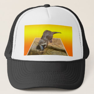 Otter Eating Tasty Fish By His Pond, Trucker Hat