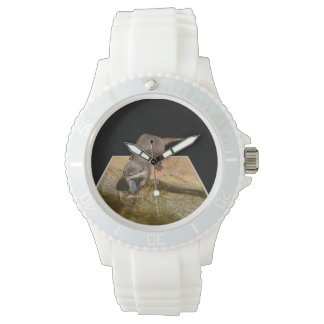 Otter Eating Tasty Fish Ladies White Sports Watch