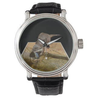 Otter Eating Tasty Fish, Mens Leather Watch. Watch