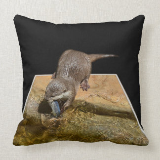 Otter eating Tasty Fish, Popout Big Lounge Cushion