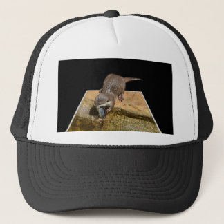 Otter Eating Tasty Fish, Trucker Hat