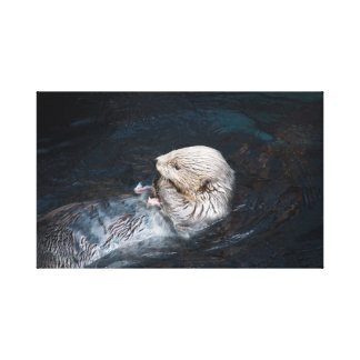 Otter eating water animal nature aquatic wild zoo canvas print