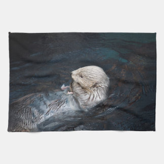 Otter eating water animal nature aquatic wild zoo kitchen towel