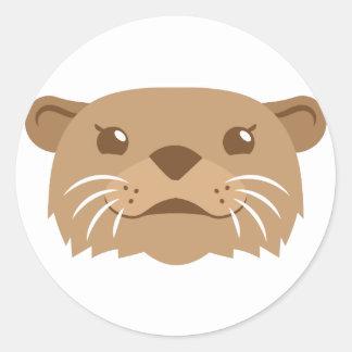 otter face classic round sticker