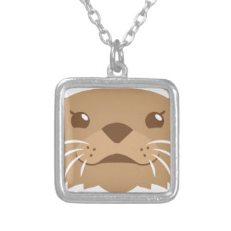 otter face silver plated necklace
