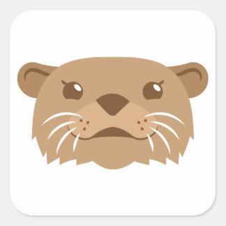 otter face square sticker