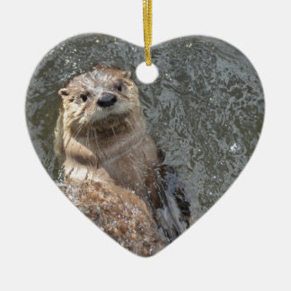 Otter Flip Turns Ceramic Ornament