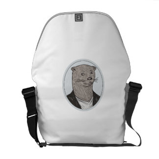 Otter Head Blazer Shirt Oval Drawing Courier Bags