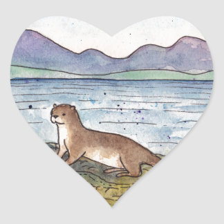 otter of the loch heart sticker