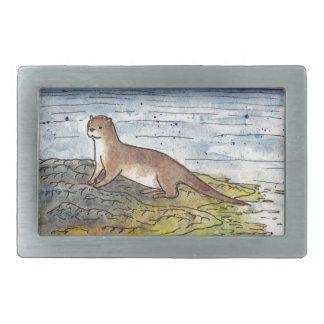 otter of the loch rectangular belt buckle