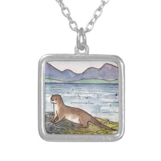 otter of the loch silver plated necklace