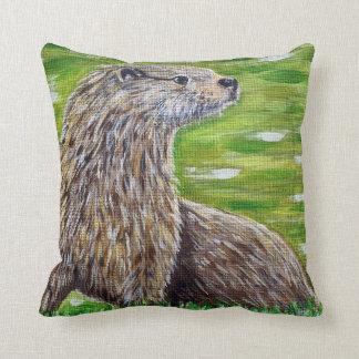 Otter on a River Bank Throw Pillow