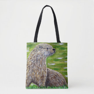 Otter on a River Bank Tote Bag