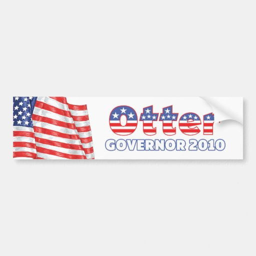 Otter Patriotic American Flag 2010 Elections Bumper Sticker