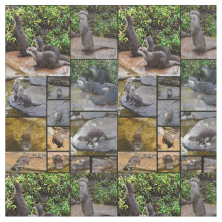 Otter Photo Collage, Combed Cotton Material Fabric