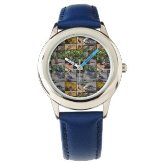 Otter Photo Collage,  Kids Blue Leather Watch